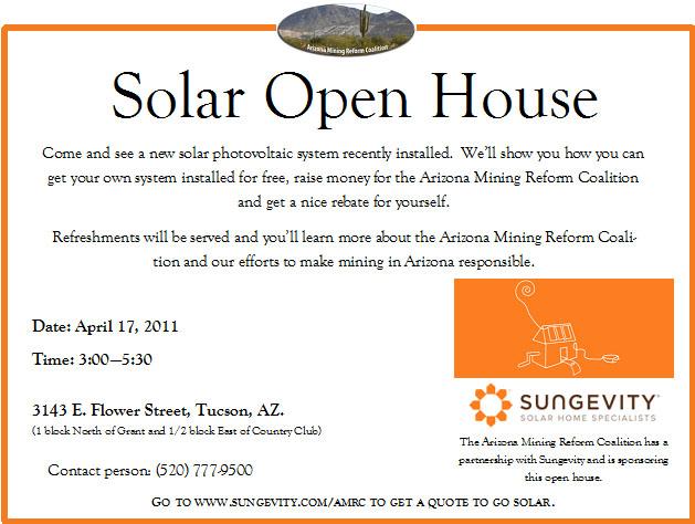 Solar Open House Invite   Arizona Mining Reform Coalition
